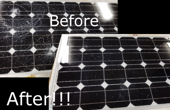 Fixing broken solar panel glass with a silicone encapsulant